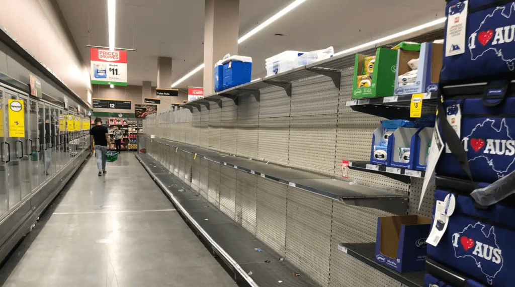 Empty shelves at a Woolworths in Sydney
