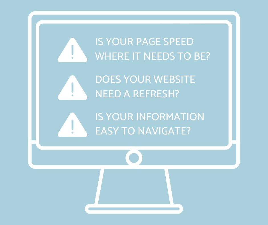 "Image of desktop computer screen with the text ""Is your page speed where it needs to be? Does your website need a refresh? Is your information easy to navigate?"""