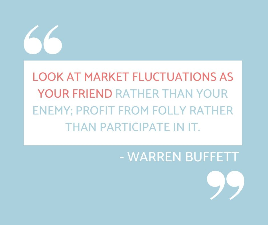 "Image with the quote ""Look at market fluctuations as your friend rather than your enemy; profit from folly rather than participate in it."" - Warren Buffet"