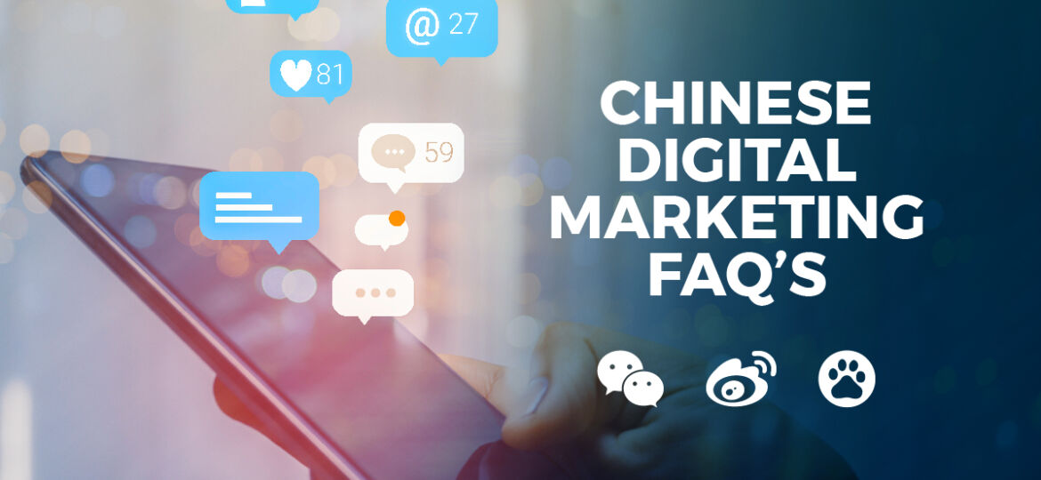 Image of phone with text 'Chinese Digital Marketing FAQS'