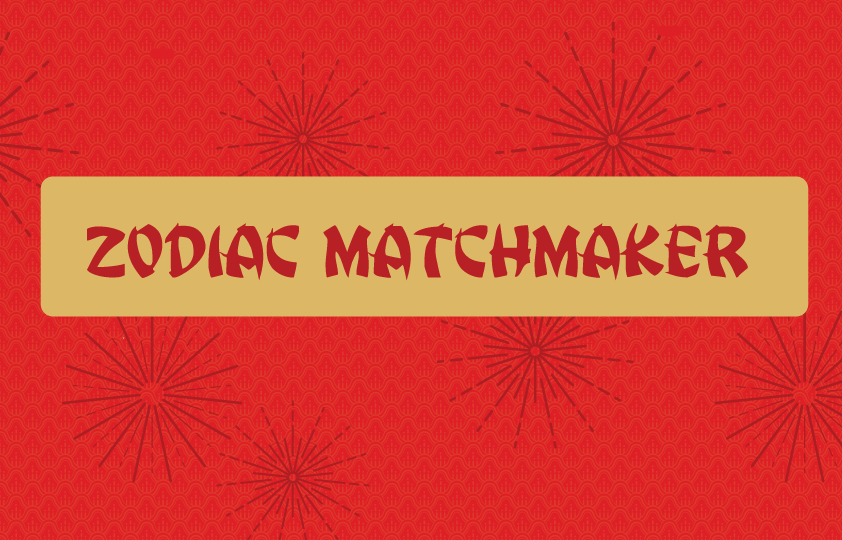Image with red background and text saying 'zodiac matchmaker'