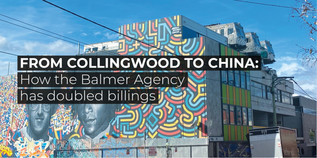 Collingwood graffiti image with text 'how the Balmer Agency has doubled billings